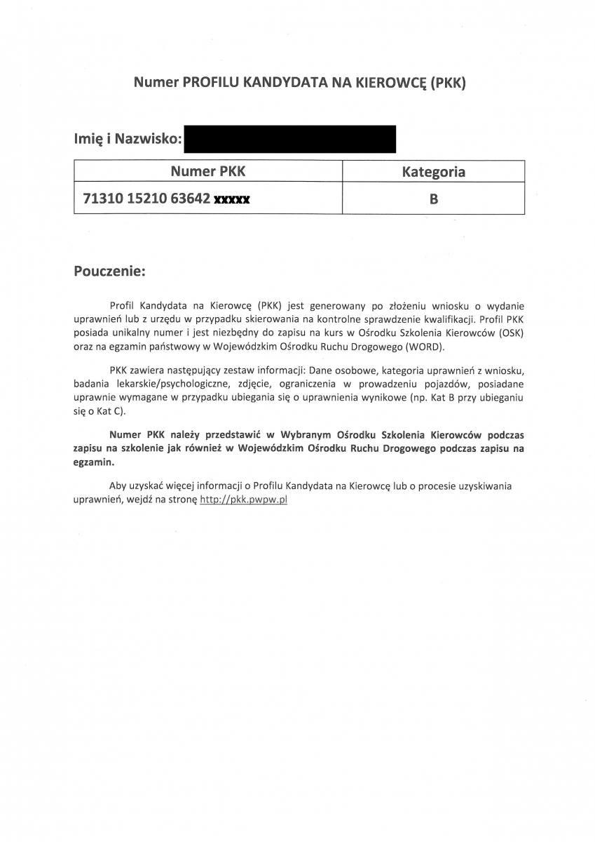 Profil Kandydata na Kierowcę, Profil Kierowcy, Numer PKK